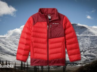 Columbia Autumn Park jacket with snow-covered mountain background